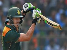 South African batsman Faf du Plessis  plays a shot during the fifth ODI match against India in Mumbai on Sunday.