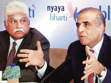 Bharti Enterprises chairman and group CEO Sunil Mittal (right) with Bharti Mobile MD Rakesh Bharti Mittal