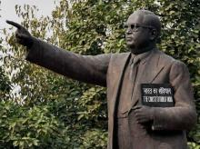 A statue of Dr Bhim Rao Ambedkar at Parliament house on the first day of Winter Session of Parliament in New Delhi. Photo: PTI