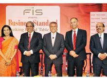 (From left): ICICI Bank MD & CEO Chanda Kochhar, HDFC Bank MD Aditya Puri, Citi India CEO Pramit Jhaveri, Deutsche Bank India CEO Ravneet Gill and Union Bank of India CMD Arun Tiwari