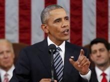 President Barack Obama delivers his State of the Union address to a joint session of Congress on Capitol Hill in Washington. Photo: PTI