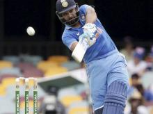 India's Rohit Sharma plays a shot during the 2nd One Day International cricket match between Australia and India in Brisbane