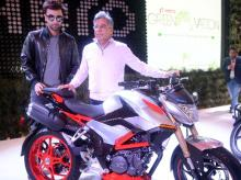 Actor Ranbir Kapoor and Pawan Munjal, MD & CEO, Hero MotoCorp, at the launch of Hero's new motorcycle at Auto Expo 2016 in Greater Noida