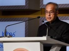 President Pranab Mukherjee addressing during a award function of Infosys Prizes for the Year 2015 in New Delhi on Saturday.PTI Photo