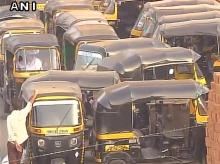 Mumbai auto rickshaws go on strike against raised fares for issuing auto permits. They also demand stopping of cab services like Ola, Uber. Photo: ANI