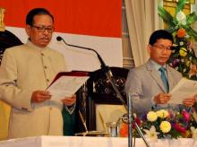 Dissident Congress leader Kalikho Pul sworn in as Chief Minister of crisis-ridden Arunachal Pradesh by Governor J P Rajkhowa in Itanagar on Friday. Photo: PTI