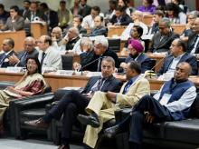 Business leaders listen to Finance Minister Arun Jaitley presenting the Union Budget in Parliament, at a Budget Viewing session 2016-17 at FICCI in New Delhi