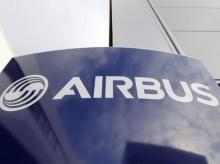Airbus's company logo is pictured at the Airbus headquarters in Toulouse