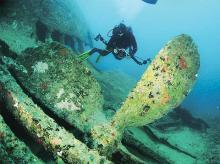 A diver explores a wreck in south Andaman Islands