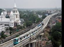 An aerial view of the 2nd trial run of Kochi Metro Rail from Muttom yard to Edapally along the Viaduct on the elevated track in Kochi