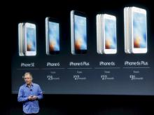 Apple Vice President Greg Joswiak introduces the iPhone SE during an event at the Apple headquarters in Cupertino