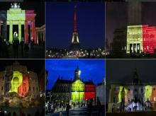 World monuments lit up in colours of the Belgium flag, a mark of showing solidarity for the attacks. Photo: Twitter
