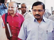 Delhi Chief Minister Arvind Kejriwal (right), with Deputy Chief Minister & Finance Minister Manish Sisodia, leaves for the Budget session of the Assembly, in New Delhi, on Monday