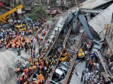 Rescue operations going on after an under-construction flyover collapsed on Vivekananda Road in Kolkata
