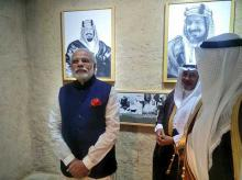 PM Narendra Modi on Saturday, April 2, 2016 visited galleries on life and times of King Abdul Aziz at Masmak Fortress Pic: @MEAIndia via twitter