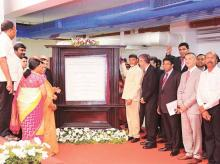 Andhra Pradesh Chief Minister Chandrababu Naidu (left) unveils  a plaque during the inauguration of Mondelez facility, on Monday
