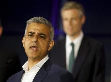 Labour Party candidate Sadiq Khan speaks in front of Conservative Party candidate Zac Goldsmith, after winning the London mayoral elections at City Hall in London. (Photo: AP/PTI)