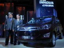 Balaji Narayan, General Manager, Sales Toyota Kirloskar Motor India and Shekar Viswanathan, Vice Chairman & Whole-time Director, Toyota Kirloskar Motor India at the launch of Toyota Innova Crysta in Mumbai