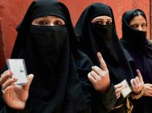 Muslim women after voting at a polling booth in Ballimaran Ward during MCD by-elections in New Delhi on Sunday, May 15, 2016 PTI