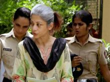 Sheena Bora Murder case accused Indrani Mukerjea being taken to the Session Court in Mumbai. (Photo: PTI)