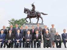 Participants at the G7 finance ministers and central bankers meeting pose for a family picture, ahead of the meeting at Aoba Castle in Sendai | Photo: Reuters