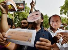 Youth Congress activists during a protest against Modi Government at Jantar Mantar in New Delhi