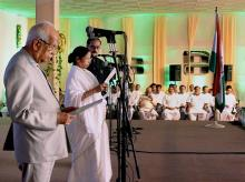 West Bengal Governor Keshari Nath Tripathy administers the oath of secrecy to West Bengal Chief Minister Mamata Banerjee during swearing-in ceremony in Kolkata. PTI