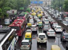 Traffic moves at a snail's pace on a street in New Delhi following rain on Monday, May 30, 2016 PTI