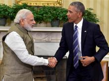 Prime Minister Narendra Modi shakes hands with US President Barack Obama  during a meeting in the Oval Office of the White House. Photo: PTI