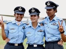 Women fighter pilots Avani Chaturvedi, Bhavana Kanth and Mohana Singh who were inducted for the first time in the Indian Air Force