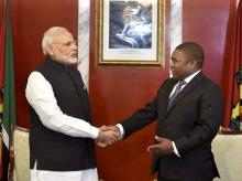 Prime Minister Narendra Modi with Mozambique President Filipe Jacinto Nyusi during a restricted meeting  at Presidential Office in Maputo, Mozambique