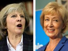 The two remaining candidates in the Conservative party leadership contest, Theresa May (L) and Andrea Leadsom, are seen in this combination of two photographs, released in London