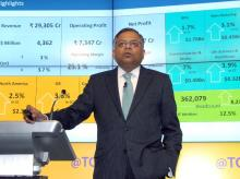 N Chandrasekharan, CEO & MD, TCS at the press conference to announce the company's first quarter results in Mumbai (Pic: Kamlesh Pednekar)