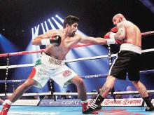 Vijender Singh in action against Hungary's Alexander Horvath earlier this year | Photo: PTI