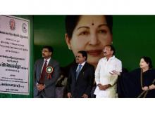 Tamil Nadu Chief Minister J Jayalalithaa, Union Minister for Urban Development and I&B, M Venkaiah Naidu and officials at the foundation stone laying ceremony of the Chennai Metro Rail Project Phase-I Extension from Washermanpet to Thiruvottiyur,