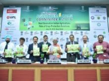 Dignitaries unveiling the TSMG-FICCI agrochemicals report