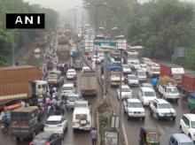 Heavy traffic jam on Delhi-Jaipur highway in Gurugram due to water logging following heavy downpour