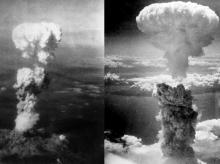 Two aerial photos of atomic bomb mushroom clouds, over two Japanese cities in 1945  Wikipedia