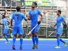 India's Rupinder and Harmanpreet Singh celebrate after a goal against Germany at Rio Olympics 2016 at Rio de Janeiro, Brazil on Monday. India lost the match by 1-2  (PTI Photo)