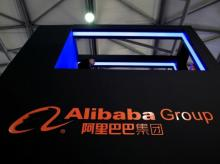 A sign of Alibaba Group is seen at CES (Consumer Electronics Show) Asia 2016 in Shanghai, China