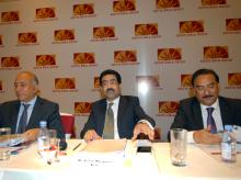 (From left to right)  Sushil Agarwal, CFO of Grasim, Kumar Mangalam Birla, Chairman, Aditya Birla Group and Dilip Gaur, MD, Grasim Industries at a press conference to announce merger of AB Nuvo and Grasim (Pic: Kamlesh Pednekar)