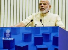 Prime Minister Narendra Modi delivers his speech at NITI Aayog's first annual lecture on Transforming India in New Delhi