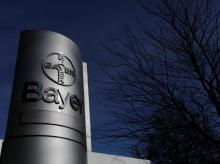 Logo of Bayer AG is pictured at the Bayer Healthcare subgroup production plant in Wuppertal, Germany