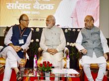 Prime Minister Narendra Modi, BJP President Amit Shah and  Finance Minister Arun Jaitley at the BJP Rajya Sabha MPs meeting in New Delhi