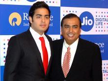 RIL Chairman Mukesh Ambani with his son, Akash. Pic: Kamlesh Pednekar