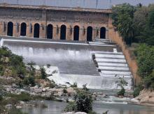 A view of the Krishnarajasagar Dam in Mysuru on Tuesday. The Supreme Court has given a directive to the Karnataka state to release Cauvery water to Tamil Nadu.