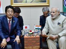 Narendra Modi with his Japanese counterpart Shinzo Abe