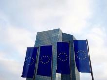 EU flags fly in front of European Central Bank headquarters in Frankfurt 1 of 1 Items European Union (EU) flags fly in front of the European Central Bank headquarters in Frankfurt, Germany