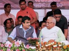 Union Minister for Transport and Highways Nitin Gadkari and Chief Minister of Haryana Manohar Lal Khattar