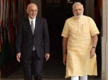 Prime Minister Narendra Modi and the President of Afghanistan Mohammad Ashraf Ghani during the exchange of agreements between India and Afghanistan in New Delhi